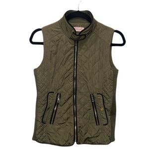 Blush Olive Green Quilted Vest Size Small
